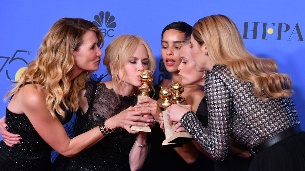 BEVERLY HILLS, CA - JANUARY 07:  (L-R) Actors Laura Dern, Nicole Kidman, Zoe Kravitz, Reese Witherspoon and Shailene Woodley of 'Big Little Lies,' winner of the award for Best Television Limited Series or Motion Picture Made for Television, pose in the press room during The 75th Annual Golden Globe Awards at The Beverly Hilton Hotel on January 7, 2018 in Beverly Hills, California.  (Photo by George Pimentel/WireImage)
