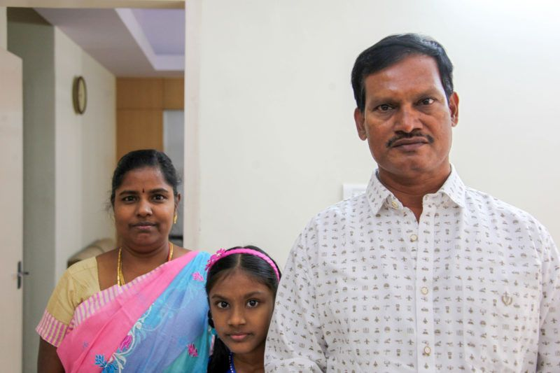 BENGALURU, INDIA, JANUARY 01:  Indias PAD MAN or Menstrual Man Arunachalam Muruganantham (right) and his wife Shanti who deserted him when he got obsessed with his work on sanitary pads and their daughter.  inventor of low cost sanitary pad machines. He is social entrepreneur who made his life mission to develop low cost yet hygienic sanitary pads for woman which they can use during chums or menstrual periods. India has a huge taboo against these and almost ninety percent of women have no access to sanitary pads, he made and tested these pads on himself and on his wife Shanti. Now his invention has been recognized world wide and Bollywood has made film on his life titled Pad Man. He was ostracised by society for his cause. (Photo by Pallava Bagla/Corbis via Getty Images)