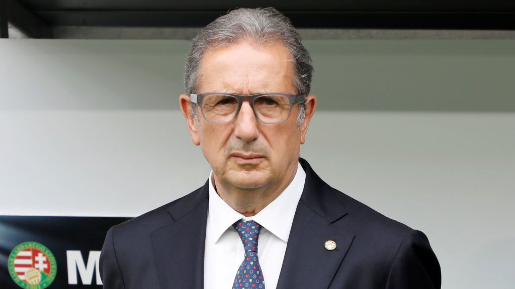 BUDAPEST, HUNGARY - JUNE 09: Head coach Georges Leekens of Hungary listens to the anthem prior to the International Friendly match between Hungary and Australia at Groupama Arena on June 9, 2018 in Budapest, Hungary. (Photo by Laszlo Szirtesi/Getty Images)