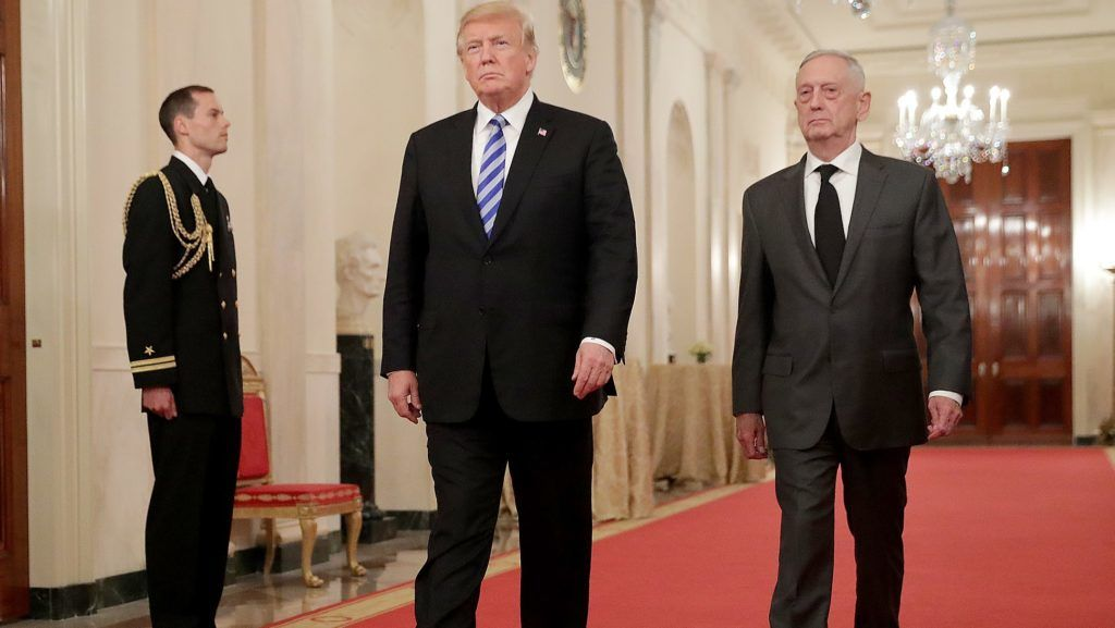FILE - DECEMBER 20, 2018: President Donald Trump announced that Defense Secretary Jim Mattis is retiring this coming February and he will announce his replacement soon, December 20, 2018. WASHINGTON, DC - OCTOBER 25: (AFP OUT) U.S. President Donald Trump (L) and Defense Secretary James Mattis arrive for an event commemorating the 35th anniversary of attack on the Beirut Barracks in the East Room of the White House October 25, 2018 in Washington, DC. On October 23, 1983 two truck bombs struck the buildings housing Multinational Force in Lebanon (MNF) peacekeepers, killing 241 U.S. and 58 French peacekeepers and 6 civilians.   Chip Somodevilla/Getty Images/AFP