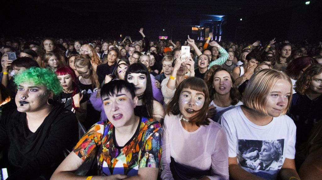 Women attend the Statement Festival at Bananpiren in Gothenburg, Sweden, on August 31, 2018. - Held in Sweden's second-largest city of Gothenburg, the two-day Statement Festival, forbids men but not transgender people. It was announced last year after police received four rape and 23 sexual assault reports at Sweden's largest Bravalla Festival, which was cancelled this year as a result. (Photo by Frida WINTER / TT News Agency / AFP) / Sweden OUT