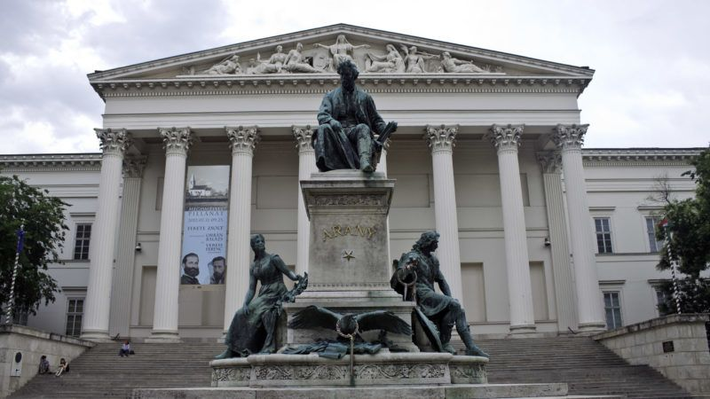 Janos Arany sculpture and National Museum, Budapest, Hungary