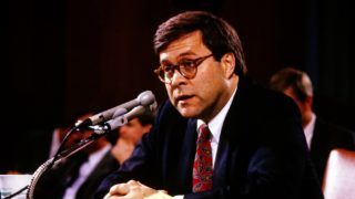 William P. Barr, who was was appointed by United States President George H.W. Bush to be the 77th US Attorney General, testifies before the US Senate Committee on the Judiciary on Capitol Hill in Washington, DC on November 12, 1991. Credit: Ron Sachs / CNP | usage worldwide