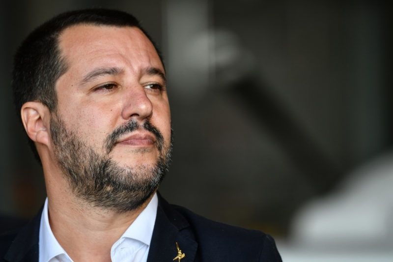 Italy's Interior Minister and deputy PM Matteo Salvini attends a welcomeing ceremony on November 14, 2018 for a group of 51 migrants from Niger, entitled to international protection, upon their arrival at the Mario De Bernardi military airport in Pratica di Mare, south of Rome. (Photo by Alberto PIZZOLI / AFP)