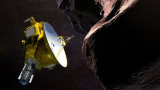 """(FILES) In this file photo taken on November 07, 2018 This artist's illustration obtained from NASA on December 21, 2018 shows the New Horizons spacecraft encountering 2014 MU69 – nicknamed """"Ultima Thule"""" – a Kuiper Belt object that orbits one billion miles beyond Pluto. - NASA rang in the New Year on January 1, 2018 with a historic flyby of the farthest, and quite possibly the oldest, cosmic body ever explored by humankind -- a tiny, distant world called Ultima Thule -- in the hopes of learning more about how planets took shape. (Photo by HO / NASA/JHUAPL/SwRI / AFP)"""