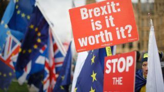 """Anti-Brexit supporters hold placards and flags as they demonstrate outside the Houses of Parliament on January 14, 2019. - Prime Minister Theresa May ramped up warnings today to MPs poised to reject her EU divorce deal that failing to deliver Brexit would be """"catastrophic"""" for British democracy. (Photo by Tolga AKMEN / AFP)"""