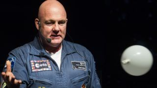 Dutch astronaut Andre Kuipers speaks during the launch of the European Space Expo in The Hague, on May 26, 2016. (Photo by Bart Maat / ANP / AFP) / Netherlands OUT