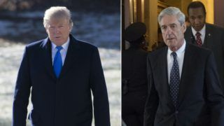 (COMBO) This combination of pictures created on January 24, 2018 shows US President Donald Trump on the South Lawn of the White House in Washington, DC, January 5, 2018, and former FBI Director Robert Mueller, special counsel on the Russian investigation, at the US Capitol in Washington, DC on June 21, 2017. - Donald Trump said Wednesday he is willing to be questioned under oath by special prosecutor Robert Mueller, who is leading the investigation into collusion between the US president's election campaign and Russia. According to media reports Mueller, who is examining whether Trump tried to obstruct the Russia investigation, is hoping to interview the president in the coming weeks. (Photos by SAUL LOEB / AFP)