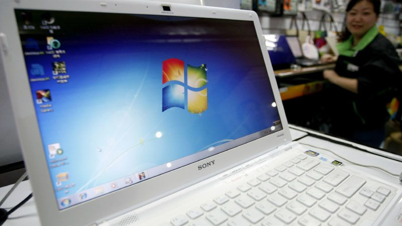 A laptop with the Microsoft Windows 7 system is seen at a store in Shanghai, China, Friday, October 23, 2009.
