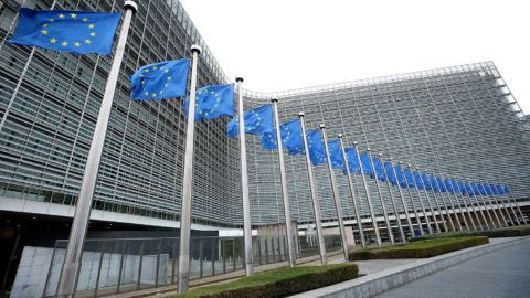 BRUSSELS, BELGIUM - JANUARY 10 : European Union flags are seen waving in front of EU Commission Building in Brussels, Belgium on January 10, 2019.  Dursun Aydemir / Anadolu Agency