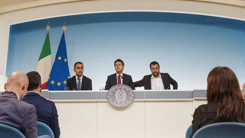 (From L) Italy's Deputy Prime Minister and Minister of Economic Development, Labour and Social Policies, Luigi Di Maio, Italy's Prime Minister, Giuseppe Conte, Italy's Deputy Prime Minister and Interior Minister, Matteo Salvini, hold a press conference at Palazzo Chigi in Rome, Italy, following a Cabinet meeting on Italyís draft budget, after its submission to the European Commission on October 20, 2018.The European Commission criticised Italyís draft budget plans, causing a standoff between Brussels and Rome. (Photo by Michele Spatari/NurPhoto)