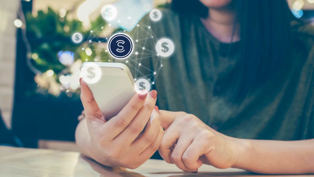 Asian woman hand using mobile phone with online transaction application, Concept e-commerce and internet online investment