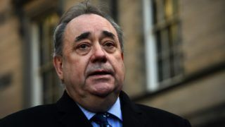"""Former First Minister of Scotland Alex Salmond addresses the media outside the Court Of Session in Edinburgh, Scotland, on January 8, 2019 after winning a case he brought against the Scottish Government over their handling of sexual misconduct allegations against him. - A Judge at s Scottish court ruled that the Scottish Government's actions were """"unlawful in respect that they were procedurally unfair and that they were tainted with apparent bias"""". (Photo by Andy Buchanan / AFP)"""