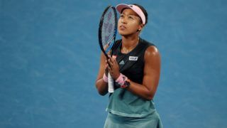 Japan's Naomi Osaka celebrates after victory over Czech Republic's Karolina Pliskova during their women's singles semi-final match on day 11 of the Australian Open tennis tournament in Melbourne on January 24, 2019. (Photo by DAVID GRAY / AFP) / -- IMAGE RESTRICTED TO EDITORIAL USE - STRICTLY NO COMMERCIAL USE --
