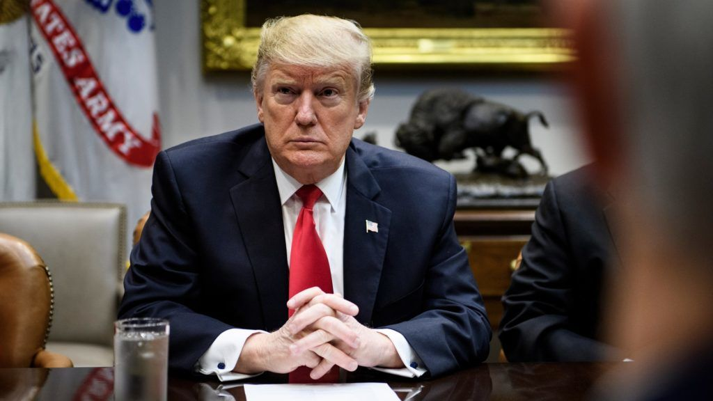 US President Donald Trump waits after a meeting with Hispanic pastors in the Roosevelt Room of the White House January 25, 2019 in Washington, DC. (Photo by Brendan Smialowski / AFP)