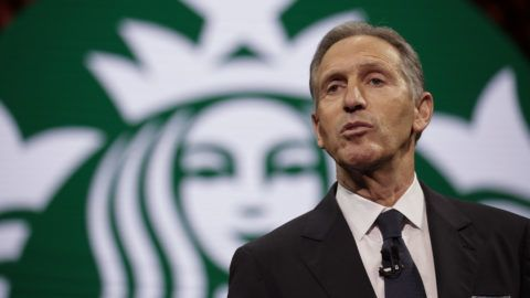 Starbucks Chairman and CEO Howard Schultz speaks at the Annual Meeting of Shareholders in Seattle, Washington on March 22, 2017. (Photo by Jason Redmond / AFP)