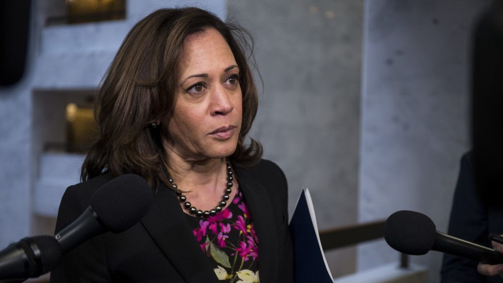 WASHINGTON, DC - DECEMBER 04: Sen. Kamala Harris (D-CA) speaks to reporters following a closed briefing on intelligence matters on Capitol Hill on December 4, 2018 in Washington, DC.   Zach Gibson/Getty Images/AFP