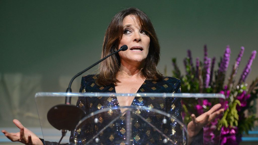 HOLLYWOOD, CA - AUGUST 22: Marianne Williamson attends the Project Angel Food's Angel Awards 2015, Honoring Marianne Williamson & Founding Team as well as Entertainment Industry Foundation at Taglyan Cultural Complex on August 22, 2015 in Hollywood, California.   Araya Diaz/Getty Images for Project Angel Food/AFP