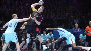 Rudolf Faluvegi (HBC Nantes) and Aron Palmarsson, Dika Mem (FC Barcelone) in action during the EHF Champions League, group stage Handball match between HBC Nantes and FC Barcelona Lassa on December 2, 2017 at Hall XXL in Nantes, France - Photo Laurent Lairys / DPPI