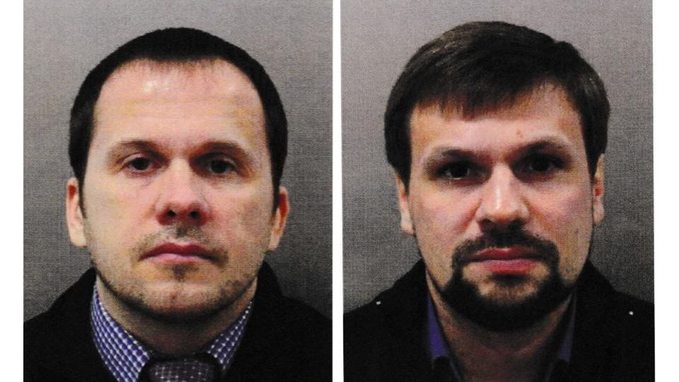 "LONDON, UNITED KINGDOM - SEPTEMBER 05 : (EDITOR'S NOTE: COMPOSITE IMAGE) (----EDITORIAL USE ONLY – MANDATORY CREDIT - ""SCOTLAND YARD / HANDOUT"" - NO MARKETING NO ADVERTISING CAMPAIGNS - DISTRIBUTED AS A SERVICE TO CLIENTS----) A photo shows images of Alexander Petrov (L) and Ruslan Boshirov (R), wanted for conspiracy to murder Sergei Skripal and the attempted murder of Yulia Skripal and police officer Nick Bailey in London, United Kingdom on September 05, 2018. British prosecutors on Wednesday named two Russian nationals as the suspects of the Salisbury attack that targeted former Russian spy Sergei Skripal and his daughter Yulia Skripal earlier this year. Scotland Yard / Handout / Anadolu Agency"