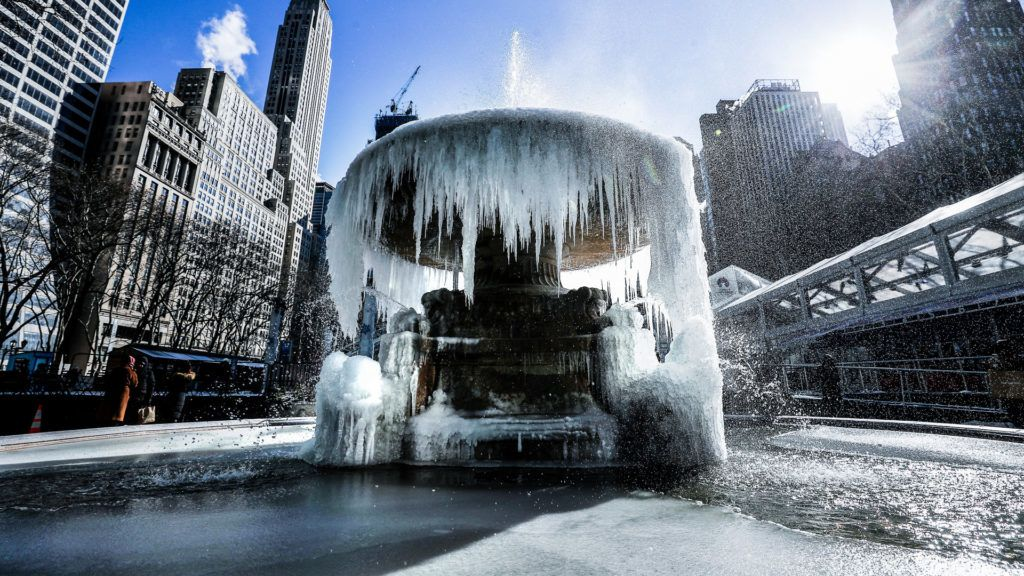 NEW YORK, USA - JANUARY 31 : A general view of Bryant Park's Josephine Shaw Lowell Fountain during freeze temperatures in New York, United States on January 31, 2019. Atilgan Ozdil / Anadolu Agency