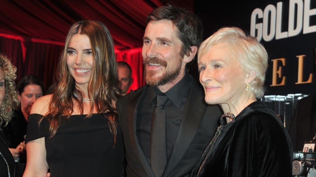 BEVERLY HILLS, CA - JANUARY 06: (L-R) Sibi Bale, Christian Bale and Glenn Close attend the official viewing and after party of The Golden Globe Awards hosted by The Hollywood Foreign Press Association at The Beverly Hilton Hotel on January 6, 2019 in Beverly Hills, California.   Rachel Luna/Getty Images/AFP