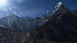 This aerial photograph taken on November 22, 2018 shows a glacier in the Everest region of the Solukhumbu district, some 140 km northeast of Kathmandu. - Formed in the shadow of Mount Everest, the turquoise depths of Nepal's Imja glacial lake would be a breathtaking miracle of nature to behold -- were they not a portent of catastrophic floods. (Photo by Prakash MATHEMA / AFP) / TO GO WITH Climate-energy-UN-COP24-Nepal, FOCUS by Paavan MATHEMA