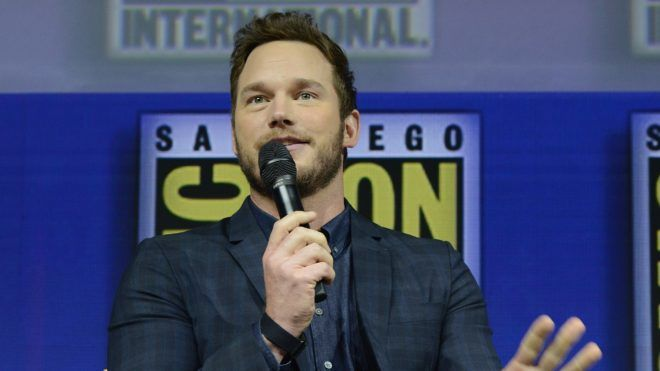 SAN DIEGO, CA - JULY 21:  Chris Pratt speaks onstage at the Warner Bros. 'The Lego Movie 2: The Second Part' theatrical panel during Comic-Con International 2018 at San Diego Convention Center on July 21, 2018 in San Diego, California.  (Photo by Albert L. Ortega/Getty Images)