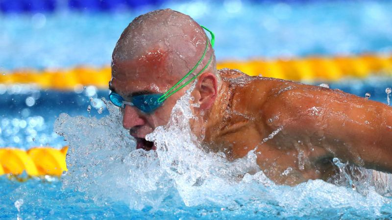 GLASGOW, SCOTLAND - AUGUST 09: Laszlo Cseh of Hungary competes in the Men's 4 x 100m Medley Relay Heat 1 during the swimming on Day eight of the European Championships Glasgow 2018 at Tollcross International Swimming Centre on August 9, 2018 in Glasgow, Scotland.  This event forms part of the first multi-sport European Championships.  (Photo by Clive Rose/Getty Images)