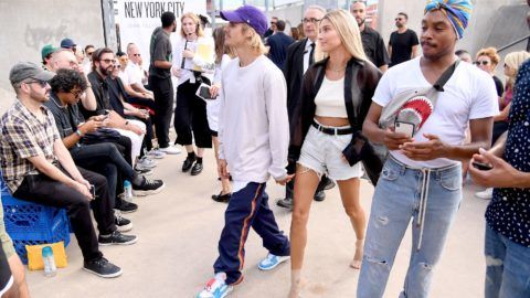 NEW YORK, NY - SEPTEMBER 06:  Justin Bieber and Hailey Baldwin attend the John Elliott front row during New York Fashion Week: The Shows on September 6, 2018 in New York City.  (Photo by Nicholas Hunt/Getty Images for NYFW: The Shows)