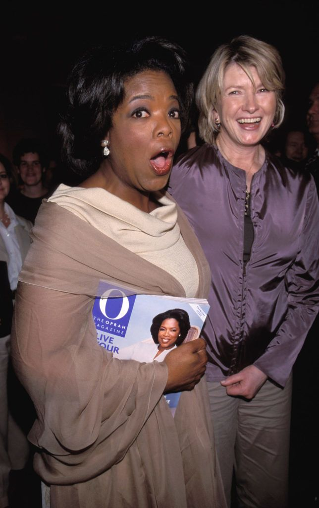 Oprah Winfrey and Martha Stewart during O, The Oprah Magazine Launch Party at The Metropolitan Pavilion in New York, New York, United States. (Photo by KMazur/WireImage)