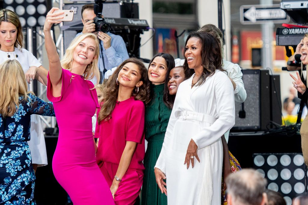 NEW YORK, NY - OCTOBER 11: Karlie Kloss, Zendaya, Freida Pinto, and Michelle Obama take a selfie during NBC's 'Today' Celebrates The International Day Of The Girl at Rockefeller Plaza on October 11, 2018 in New York City.  (Photo by Roy Rochlin/Getty Images)
