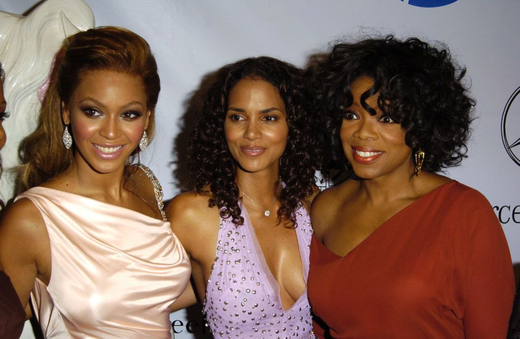 Beyonce, Halle Berry and Oprah Winfrey during Mercedes Benz Presents the 16th Annual Carousel Of Hope Gala - VIP Reception at Beverly Hilton Hotel in Beverly Hills, California, United States. (Photo by SGranitz/WireImage)