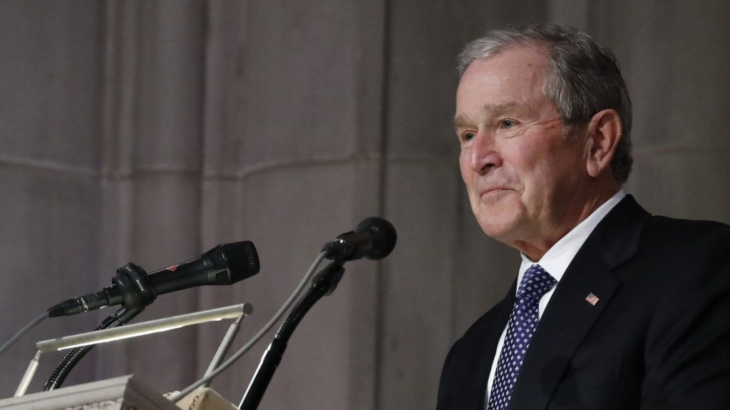 Former President George W. Bush speaks during the State Funeral for his father, former President George H.W. Bush, at the National Cathedral, Wednesday, Dec. 5, 2018, in Washington. (AP Photo/Alex Brandon, Pool)