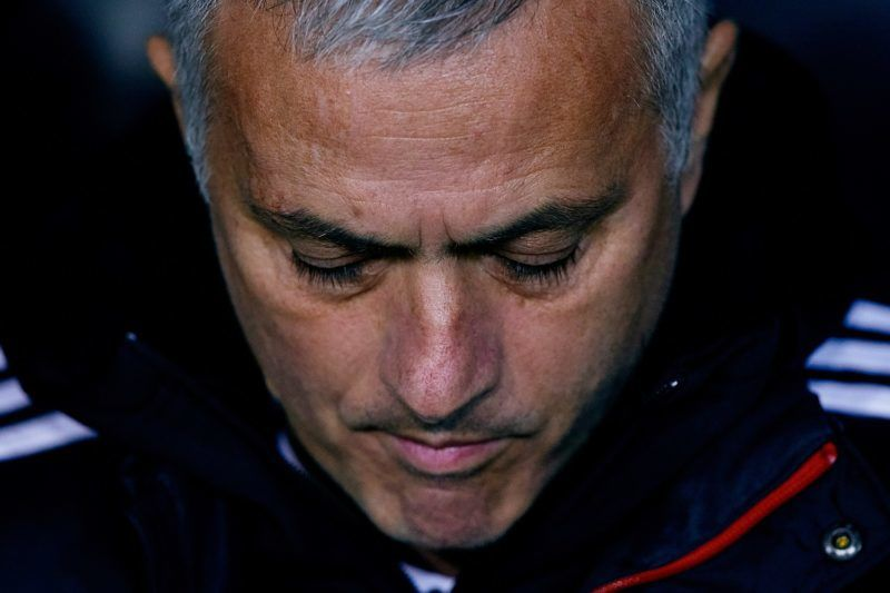 VALENCIA, SPAIN - DECEMBER 12: Jose Mourinho head coach of Manchester United looks down prior to the UEFA Champions League Group H match between Valencia and Manchester United at Estadio Mestalla on December 12, 2018 in Valencia, Spain. (Photo by David Aliaga/MB Media/Getty Images)