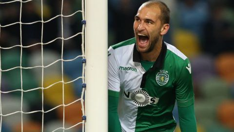 LISBON, PORTUGAL - DECEMBER 19: Bas Dost of Sporting CP celebrates after scoring a goal during the Portuguese Cup match between Sporting CP and Rio Ave FC at Estadio Jose Alvalade on December 19, 2018 in Lisbon, Portugal.  (Photo by Gualter Fatia/Getty Images)