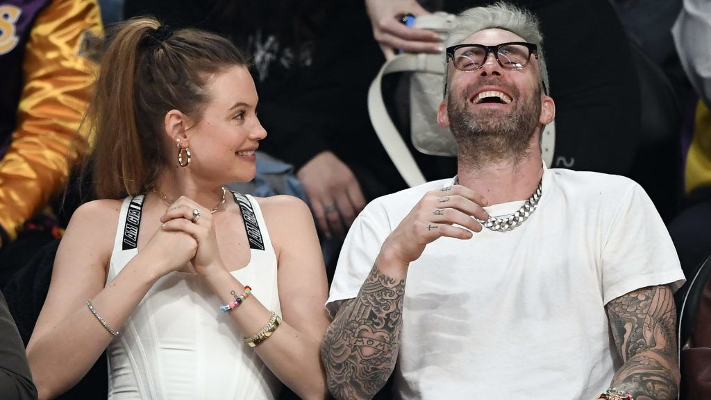 LOS ANGELES, CA - DECEMBER 21: Model Behati Prinsloo and Adam Levine attend a basketball game between New Orleans Pelicans and Los Angeles Lakers at Staples Center on December 21, 2018 in Los Angeles, California. (Photo by Kevork S. Djansezian/Getty Images)