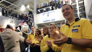 BERLIN, GERMANY - DECEMBER 13:  Ikea employees welcome the first guests during an opening ceremony at the 4th Ikea chain store in Berlin Lichtenberg on December 13, 2010 in Berlin, Germany. Ikea, a Swedish furniture and household goods company now has 46th chain stores in Germany, including the newly opened one in Berlin Lichtenberg, which is the biggest one in Germany.  (Photo by Andreas Rentz/Getty Images)