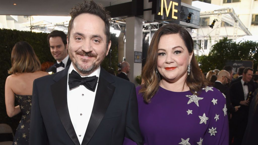 BEVERLY HILLS, CA - JANUARY 06:  Melissa McCarthy (R) and Ben Falcone attend Moet & Chandon at The 76th Annual Golden Globe Awards at The Beverly Hilton Hotel on January 6, 2019 in Beverly Hills, California.  (Photo by Michael Kovac/Getty Images for Moet & Chandon)