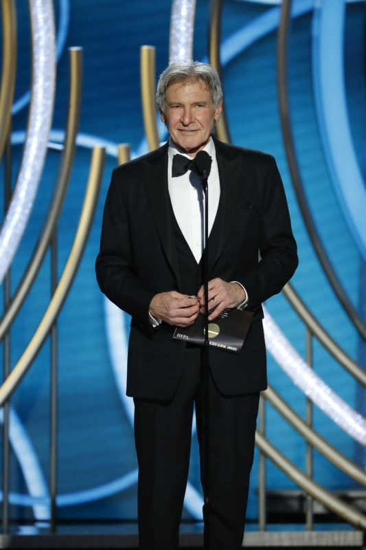 BEVERLY HILLS, CALIFORNIA - JANUARY 06: In this handout photo provided by NBCUniversal, Presenter Harrison Ford speaks onstage during the 76th Annual Golden Globe Awards at The Beverly Hilton Hotel on January 06, 2019 in Beverly Hills, California.  (Photo by Paul Drinkwater/NBCUniversal via Getty Images)
