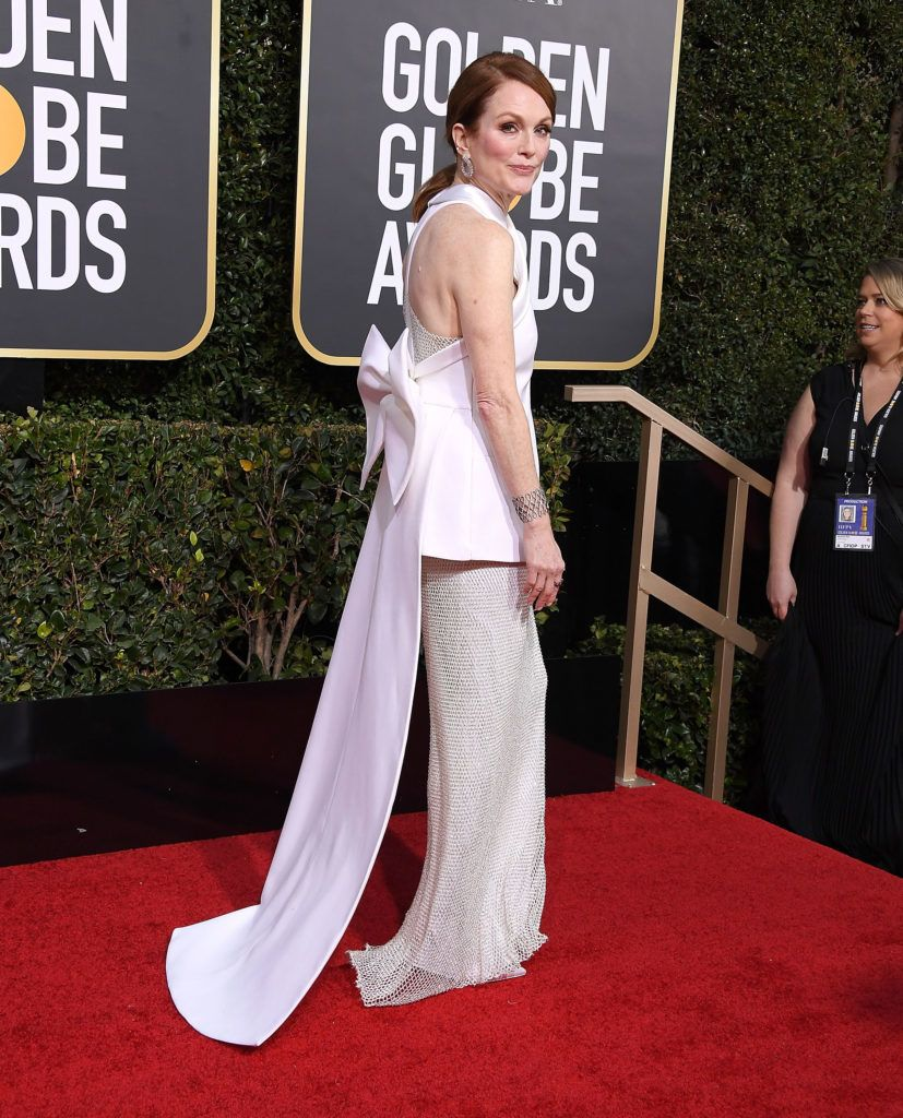 BEVERLY HILLS, CA - JANUARY 06:  Julianne Moore arrives at the 76th Annual Golden Globe Awardsat The Beverly Hilton Hotel on January 6, 2019 in Beverly Hills, California.  (Photo by Steve Granitz/WireImage)