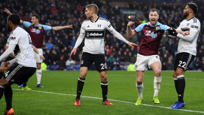 BURNLEY, ENGLAND - JANUARY 12:  Ashley Barnes of Burnley celebrates after his team's second goal, an own goal by Denis Odoi of Fulham during the Premier League match between Burnley FC and Fulham FC at Turf Moor on January 12, 2019 in Burnley, United Kingdom.  (Photo by Gareth Copley/Getty Images)
