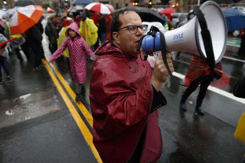LOS ANGELES, CA - JANUARY 14: UTLA President Alex Caputo-Pearl organizes Los Angeles Unified School District teachers before marching from City Hall to LAUSD headquarters in Los Angeles, Calif., on Jan. 14, 2019. Los Angeles Unified School District teachers on strike for the first time in 30 years. (Photo by Gary Coronado/Los Angeles Times via Getty Images)