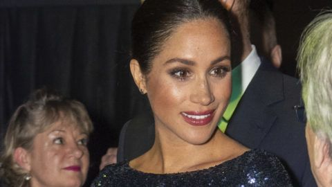 """LONDON, ENGLAND - JANUARY 16: Meghan, Duchess of Sussex attends the Cirque du Soleil Premiere Of """"TOTEM"""" at Royal Albert Hall on January 16, 2019 in London, England. (Photo by Paul Grover - WPA Pool/Getty Images)"""