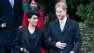 KING'S LYNN, ENGLAND - DECEMBER 25:  Meghan, Duchess of Sussex and Prince Harry, Duke of Sussex attend Christmas Day Church service at Church of St Mary Magdalene on the Sandringham estate on December 25, 2018 in King's Lynn, England. (Photo by Samir Hussein/Samir Hussein/WireImage)