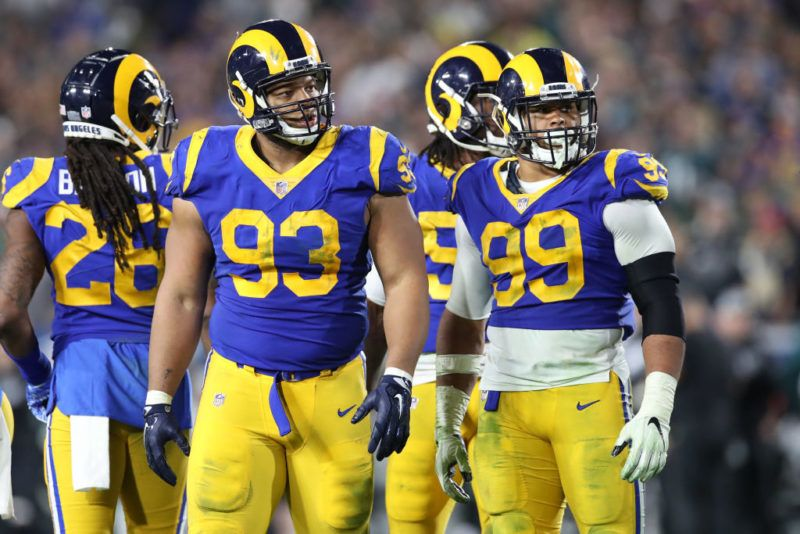 LOS ANGELES, CA - DECEMBER 16:  Ndamukong Suh #93 and Aaron Donald #99 of the Los Angeles Rams look on during the game against the Philadelphia Eagles at the Los Angeles Memorial Coliseum on December 16, 2018 in Los Angeles, California . The Eagles defeated the Rams 30-23.  (Photo by Rob Leiter via Getty Images)