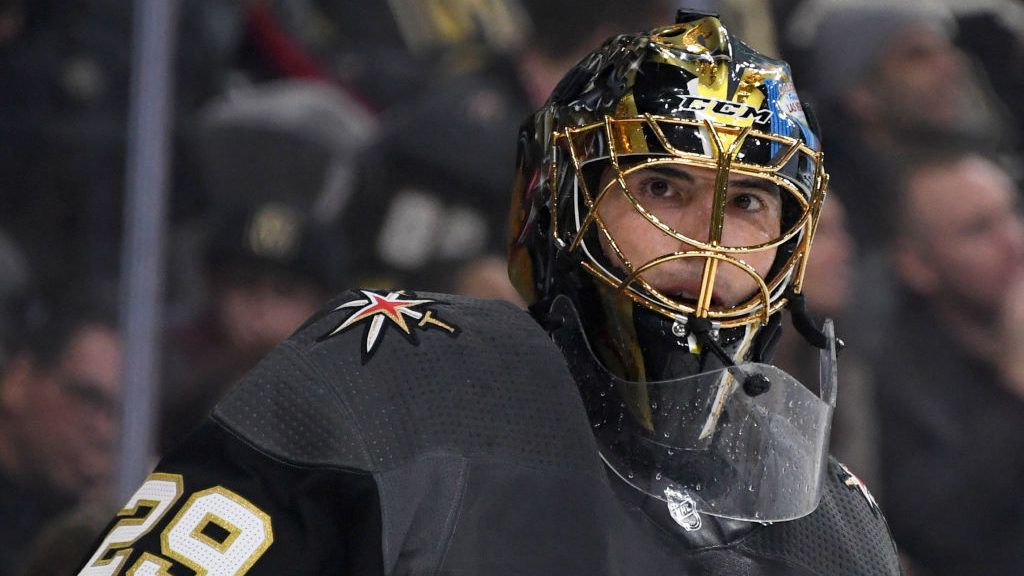 LAS VEGAS, NEVADA - JANUARY 01:  Marc-Andre Fleury #29 of the Vegas Golden Knights takes a break during a stop in play in the third period of a game against the Los Angeles Kings at T-Mobile Arena on January 01, 2019 in Las Vegas, Nevada. The Golden Knights defeated the Kings 2-0.  (Photo by Ethan Miller/Getty Images)
