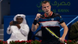 DOHA, QATAR - JANUARY 02: Marton Fucsovics of Hungary celebrates a point during his match against Novak Djokovic of Serbia during day three of the ATP Qatar ExxonMobil Open at Khalifa International Tennis and Squash Complex on January 02, 2019 in Doha, Qatar. (Photo by Quality Sport Images/Getty Images)