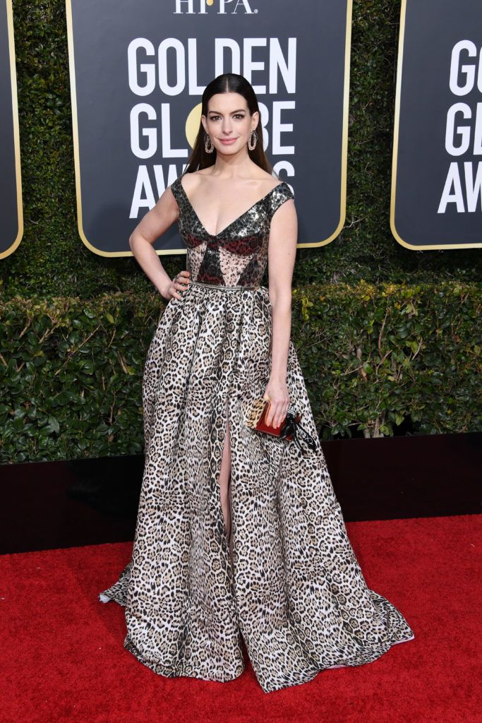 BEVERLY HILLS, CALIFORNIA - JANUARY 06: Anne Hathaway attends the 76th Annual Golden Globe Awards at The Beverly Hilton Hotel on January 06, 2019 in Beverly Hills, California. (Photo by Daniele Venturelli/WireImage)