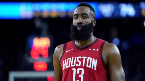 OAKLAND, CA - JANUARY 03:  James Harden #13 of the Houston Rockets looks on against the Golden State Warriors during an NBA basketball game at ORACLE Arena on January 3, 2019 in Oakland, California. NOTE TO USER: User expressly acknowledges and agrees that, by downloading and or using this photograph, User is consenting to the terms and conditions of the Getty Images License Agreement.  (Photo by Thearon W. Henderson/Getty Images)